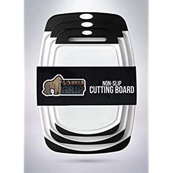 The Original GORILLA GRIP (TM) Set of 3 Non-Slip Reversible Cutting Boards, BPA Free, FDA Approved Materials (Set of 3 Boards: Black)