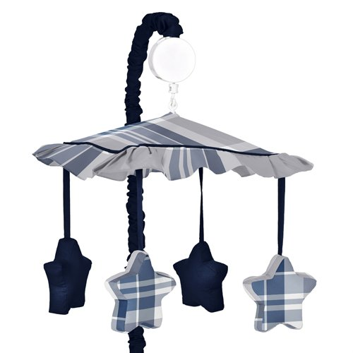 Sweet Jojo Designs Musical Baby Crib Mobile for Navy Blue and Gray Plaid - Mobile Baby Plaid Musical