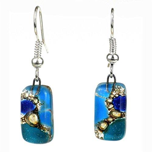 (Blue Earthtones Small Glass Earrings - Tili Glass)