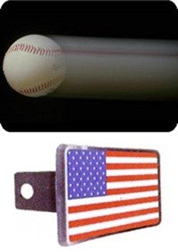 Blazing Baseball on Black Trailer Hitch Cover Blazing Baseball