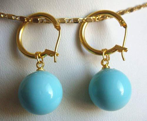 FidgetFidget 14mm Turquoise Blue South Sea Shell Pearl 14K GP Dangle Earrings -