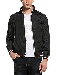 COOFANDY Mens Casual Bomber Jacket Solid Zipper Coat Lightweight Outwear