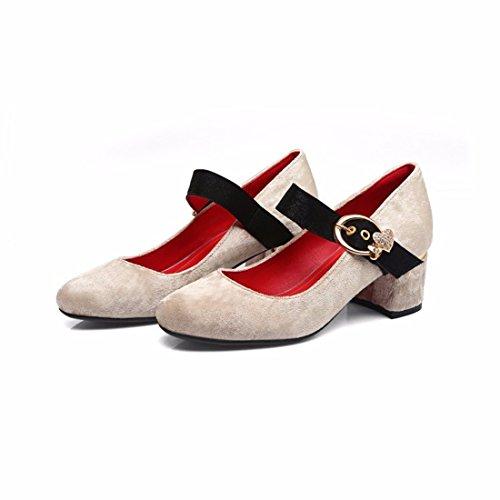 Zapatos de Tacón/Palabra Dulce Hebilla, Talón y Tacón, Zapatos de Gran Tamaño con Damas Beige