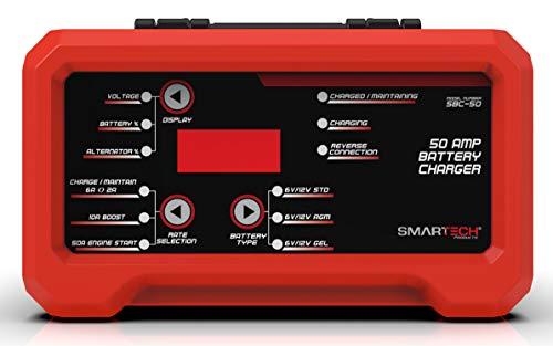Smartech SBC-50 6V/12V Shelf Automotive Battery Charger, Maintainer, Multi-Use, Trickle Charger, Engine Starter ()