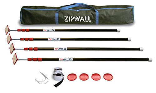 (ZipWall ZipPole 10' 4-Pack Spring-Loaded Poles for Dust Barriers,)