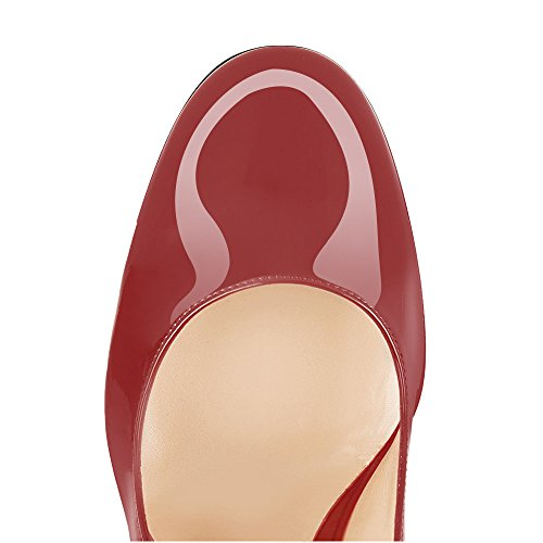 Toe Evening Heels Party Patent Pumps Shoes Gorgeous Round Sexy Modemoven Block Leather Wine Red Stiletto Women's 0gnXwvf