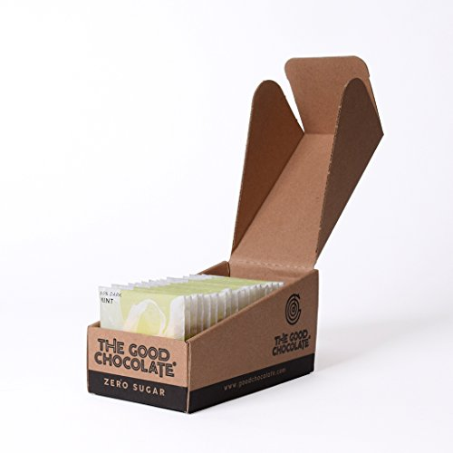 The Good Chocolate Zero Sugar 65% Mint Dark Chocolate Bars, Organic, Keto Friendly, Low Carb, Sugar Free Snacks and Treats, 0.4 Ounce Individually Wrapped Squares (18 Pack)