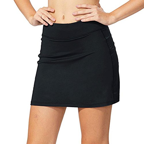 Jessie Kidden Women's Athletic Stretch Skort Skirt with Shorts and Pocket for Running Tennis Golf Workout #944-Black, ()