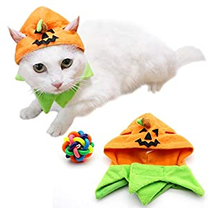 Angela&Alex Thanksgiving Pumpkin Cat Hat, Cat Cosplay Costume Apparel Kitty Collar Small Pet Ornaments Thanksgiving Day Cap Decorations Custom (1 Pcs hat 1 Pcs Pet Ball Toy)