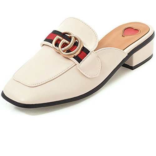 Beige Black Loafers 9 Low Toe Cicime Square On Women's Slide Backless Heel Slip Mules Slippers qqx6Uw7Z