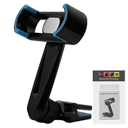 IWIO Black / Blue Phone Air Vent Clip 360 Degree Holder Car