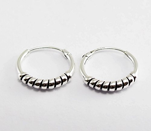 Real 925 Sterling Silver Bali Earring Hoops Black Oxidized Unisex 1/2