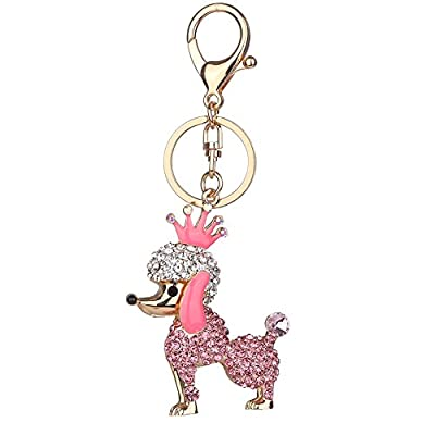 super1798 Cute Rhinestones Poodle Dog Pendant Key Chain Bag Car Decor Keyring Gift