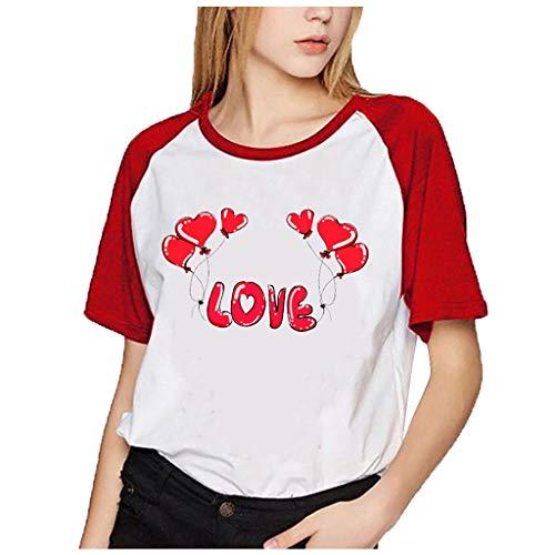 FONMA Women Fashion Print Valentine's Day T Shirts O-Neck Short Sleeve Tops Blouse