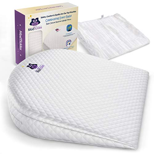 Bassinet Wedge, Baby Wedge Sleep Positioner & Bonus Swaddle by ModTickles - Newborn Baby Incline Pillow and Baby Acid Reflux Relief - Elevated Mini Crib Pillow for Infants - Babies Anti Reflux Insert