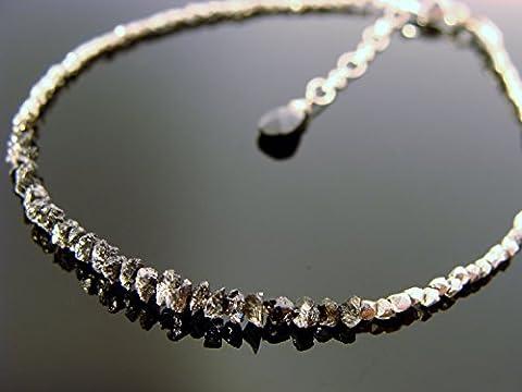 Genuine Black Raw Rough Uncut Diamond Sterling Silver Bracelet - Genuine Rough