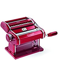 Marcato Atlas Pasta Machine, Made in Italy, Red, Includes Pasta Cutter, Hand Crank, and Instructions
