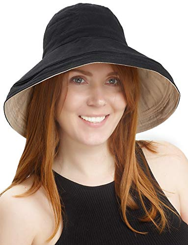 Sun Hats Women Bucket Floppy Cotton Hat Wide Brim Summer Beach Caps UV Protection Packable Black