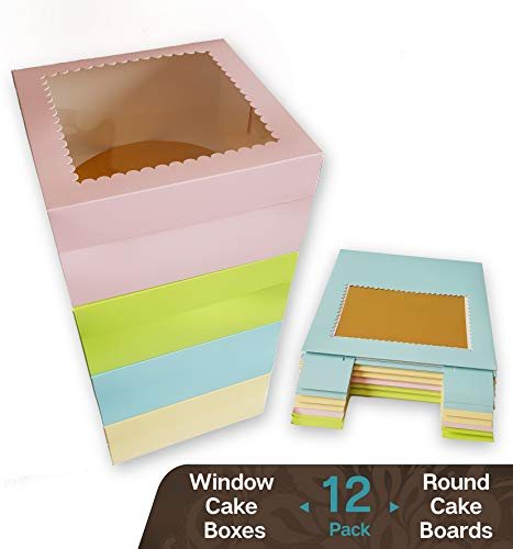 "CooKeezz Couture - Window Cake Boxes 10"" L x 10"" W x 5"" H Paperboard Boxes Auto Popup Great for Bakery, Cakes - Assorted 12 Pack Boxes in 4 Pastel Colors Also Included with 12 Round Cake Boards"