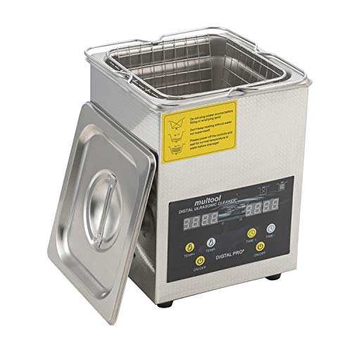 Jewelry Ultrasonic Cleaner 2L with Heater Timer for Cleaning Jewelry Rings Eyeglasses Lenses Dentures Watches Necklaces Parts Coins