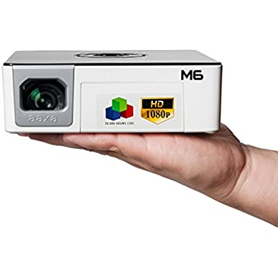 AAXA Full Micro LED Projector with Built-in Battery Native 1920 1080p FHD Resolution  1200 Lumens  30 000 Hour LEDs  Onboard Media Player  Business Home Theater Use