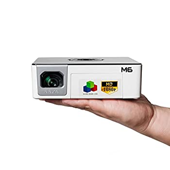 Image of Video Projectors AAXA M6 Full HD Micro LED Projector with Built-in Battery - Native 1920 x 1080p FHD Resolution, 1200 Lumens, 30,000 Hour LEDs, Onboard Media Player, Business/Home Theater Use