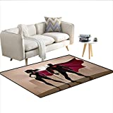 """Carpet,Super Woman and Man Heroes in City Solving Crime Hot Couple in Costume,Rug Kid Carpet,Beige Brown MagentaSize:36""""x48"""""""