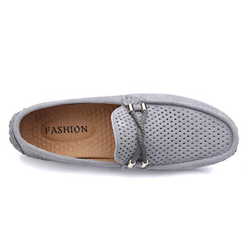 Gris Zapatos Gamuza Clásico de Mocasines de YAER Conducción 1 Hombres Rwp7qpA