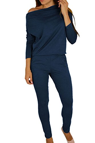 Women's 1PC Trendy Jumpsuit Sleeveless Broken Hole Waisted Club Long Romper Outfit, X-Large,  09-navy Blue