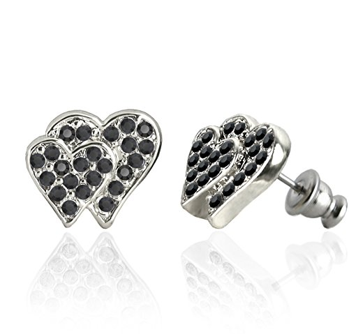 Forever Silver Austrian Crystal Double Heart Earrings Surgical Steel Posts & Comfort Backs E193S (Silver with Black Stones) - Original Double Act Costumes