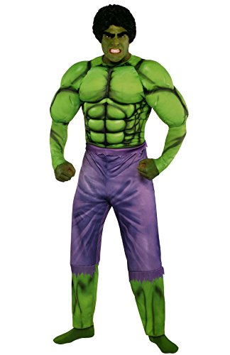 Costumes USA Hulk Muscle Costume Classic for Adults, Standard Size, Includes a Jumpsuit, a Wig, and Stick-On Eyebrows