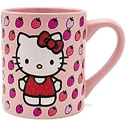 Silver Buffalo KTY31632G Hello Kitty - Taza de cerámica con purpurina, 14 onzas, color rosa