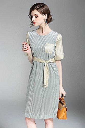 Bicchierino Colore Del Collo Vestito La Di Solido Abiti Velluto Per Autunno Women`s Di Verde Moda Primavera Paletta Cotiledone Vestito nnvw7SqRx