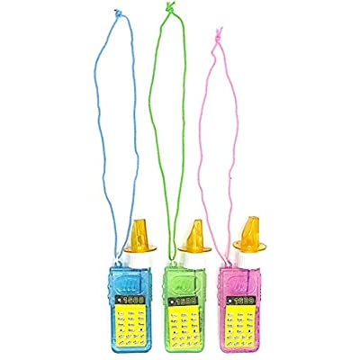 Dazzling Toys 3 Whistle Bubble Bottles Cellphone Whistle Bubbles on Necklace- 3 Pack: Toys & Games