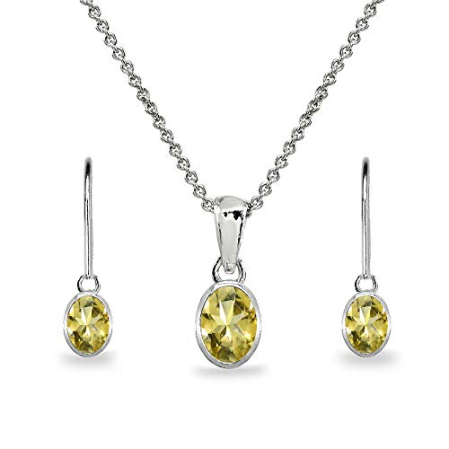 Sterling Silver Citrine Oval Bezel-Set Solitaire Dainty Necklace & Leverback Earrings Set for Women Teen Girls (Citrine Bezel Necklace)