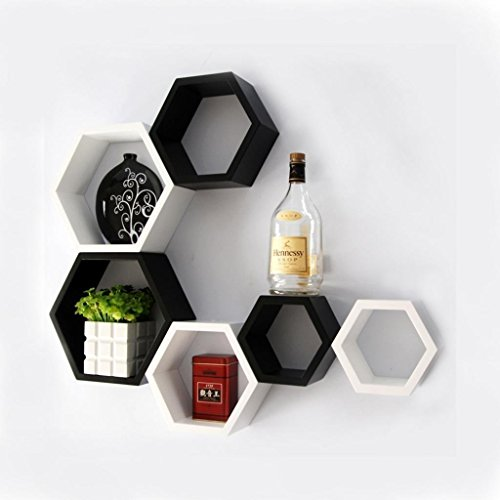Hexagon Shape Set of 6 Floating Wall Shelves/Wall Shelf ...