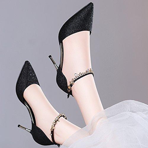 mujer alto zapatos HUAIHAIZ sandalias Baotou Black sandalias cristal altosLos verano de tacón Tacones de zapatos qXU4wXx8P
