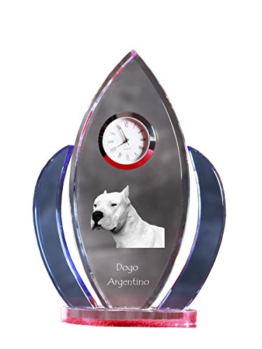 Dogo Argentino, Crystal Clock, Shape of Wings with The Image of a Dog 1