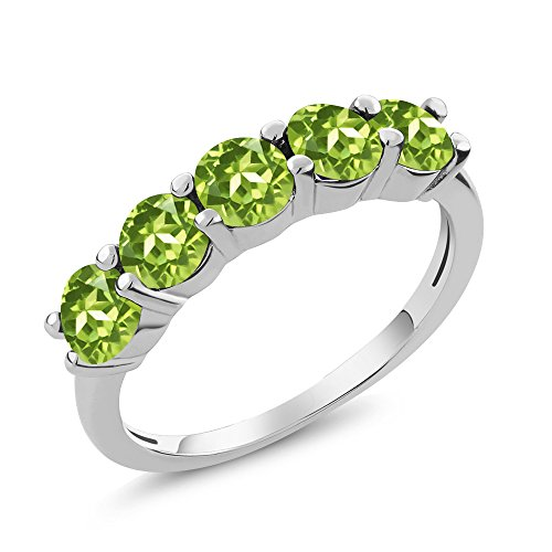 925 Sterling Silver Green Peridot 5-Stone Band Women's Ring 1.50 Ctw Round (Size 7)
