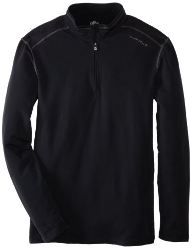 Hot Chillys Men's Micro Elite Chamois XT Panel Zip-Tee, Black/Granite, Large (Micro Elite Chamois)