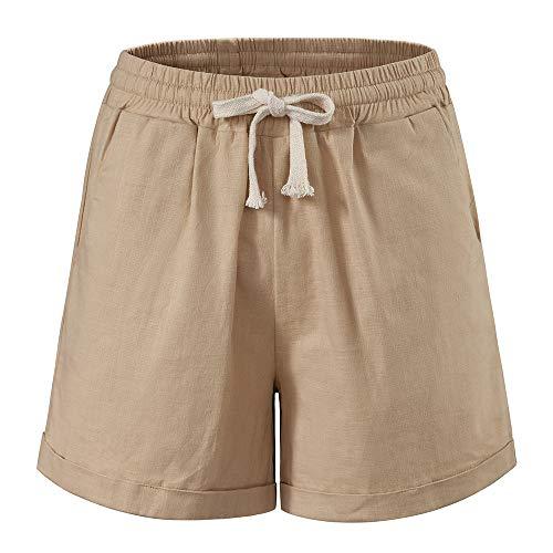Women's Drawstring Elastic Waist Casual Comfy Cotton Linen Beach Shorts Khaki Tag M-US 2-4 ()