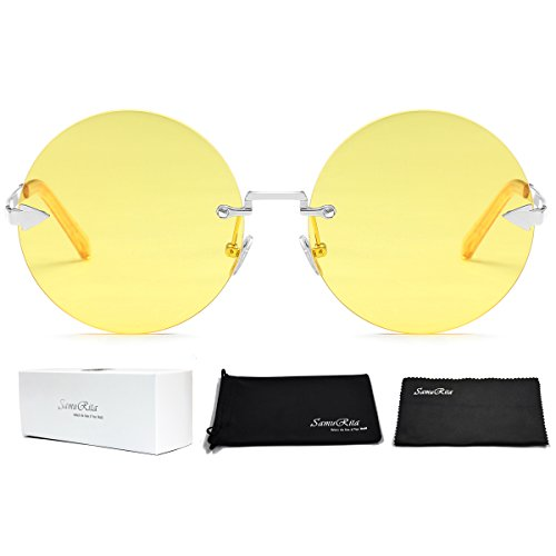 SamuRita Rimless Round Sunglasses Tinted Candy Color Arrow Design Lennon Style - Lennon Oversized John Sunglasses
