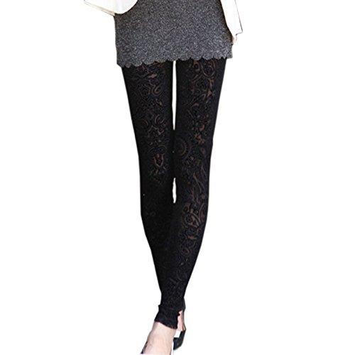 Pinbo Women Vintage Velvet Flower Skinny Lace Hipster Punk Sheer Legging Pants - Hipster Punk Clothing