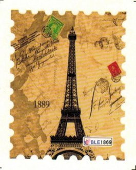 BTArtbox 1 Pack Vintage Historic Sites Beautiful Stamps Design Nail Art Stickers Nail Wraps Water Slide Nail Tips Decals Eiffel Tower