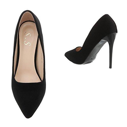 Ital-Design High Heel Pumps Damenschuhe High Heel Pumps Pfennig-/Stilettoabsatz High Heels Pumps Schwarz OD-16