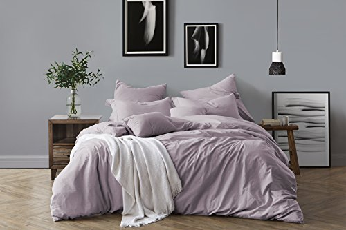 Slate Blue Walls with Lavender Bedding: Swift Home 100% Cotton Washed Yarn Dyed Chambray Duvet Cover & Sham Bedding Set, Ultra-Soft Luxury & Natural Wrinkled Look - Full/Queen, Dusty Lavender