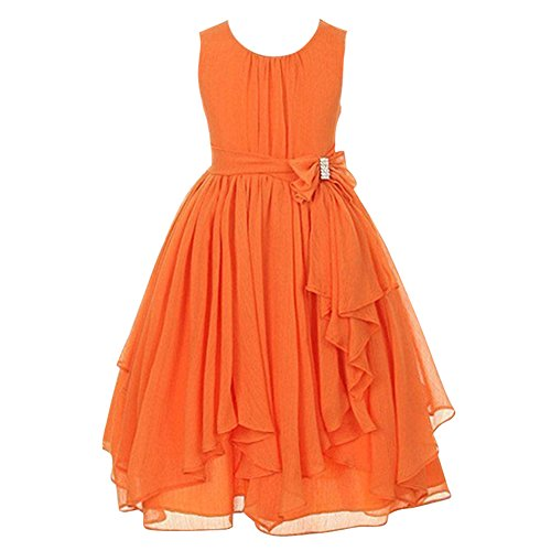 LPATTERN Kids Little/Big Girls Summer Chiffon Asymmetric Ruffled Sleeveless Dress Flower Girl Dress with Bow-Knot, Orange, 9-10 Years(Label: 150)