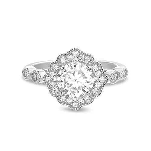 INSPIRED BY YOU. Round Prong Set Cubic Zirconia Solitaire Plus Antique Style Halo Engagement Bridal Ring for Women in Rhodium Plated 925 Sterling Silver (Size 10) ()