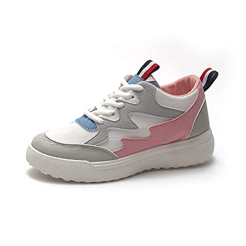 ZHZNVX Zapatos de Mujer Mesh Fall & Winter Comfort Sneakers Flat Heel Round Toe Negro/Azul / Rosa Pink