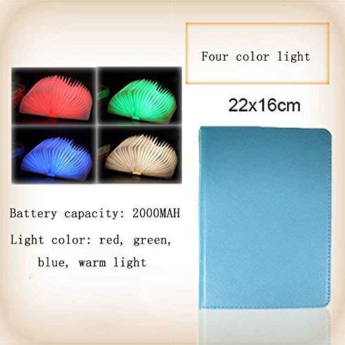 Eeayyygch Kreative Farbe LED Buch Lampe Tragbare Flip Origami Buch Licht USB Lade Nachtlicht Dekorative Klapptischlampe (Größe  12  9 cm warmes licht) (Farbe   22  16cm Four Farbe Light)